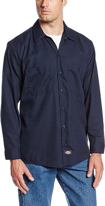 Dickies Ll535 - Camisa de Trabajo Industrial de Manga Larga para Hombre, 120 g, Color Azul Marino