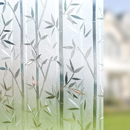 "Rabbitgoo Frosted Window Films Privacy Static Cling Vinyl Decorative Glass Film Bamboo Pattern, 60 x 200CM (23.6"" x 78.7"")"