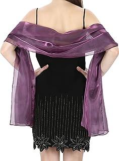 World of Shawls seidig farbpassiviert Schal gewickelt Stahl Schal für Hochzeit Braut Brautjungfern Abend Kleidung Ball & Partys