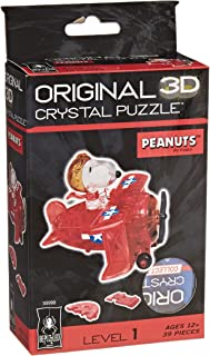 BePuzzled Original 3D Crystal Jigsaw Puzzle - Flying Ace Snoopy Assembly Brain Teaser, Fun Yet Challenging Peanuts Model T...