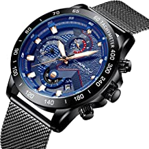 PYRKIA Fashion Mens Quartz Watch Mesh Stainless Steel Watches with Chronograph Date Waterproof Wristwatch for Sport, Business, Casual