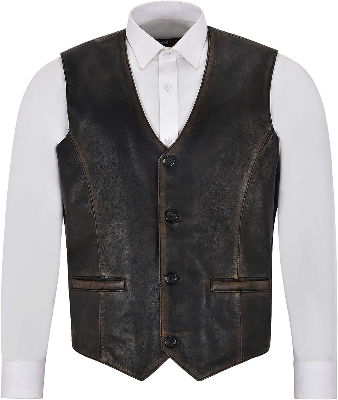 Men's Real Leather Waistcoat Party Fashion Stylish Vest Rub-Off Vintage 5226