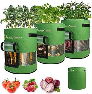 TONAIN Pro Plants Grow Bags - 3 Pcs 10 Gallon Big Vegetables & Strawberry Incubation Bag, Heavy Duty Thickened Non-Woven F...