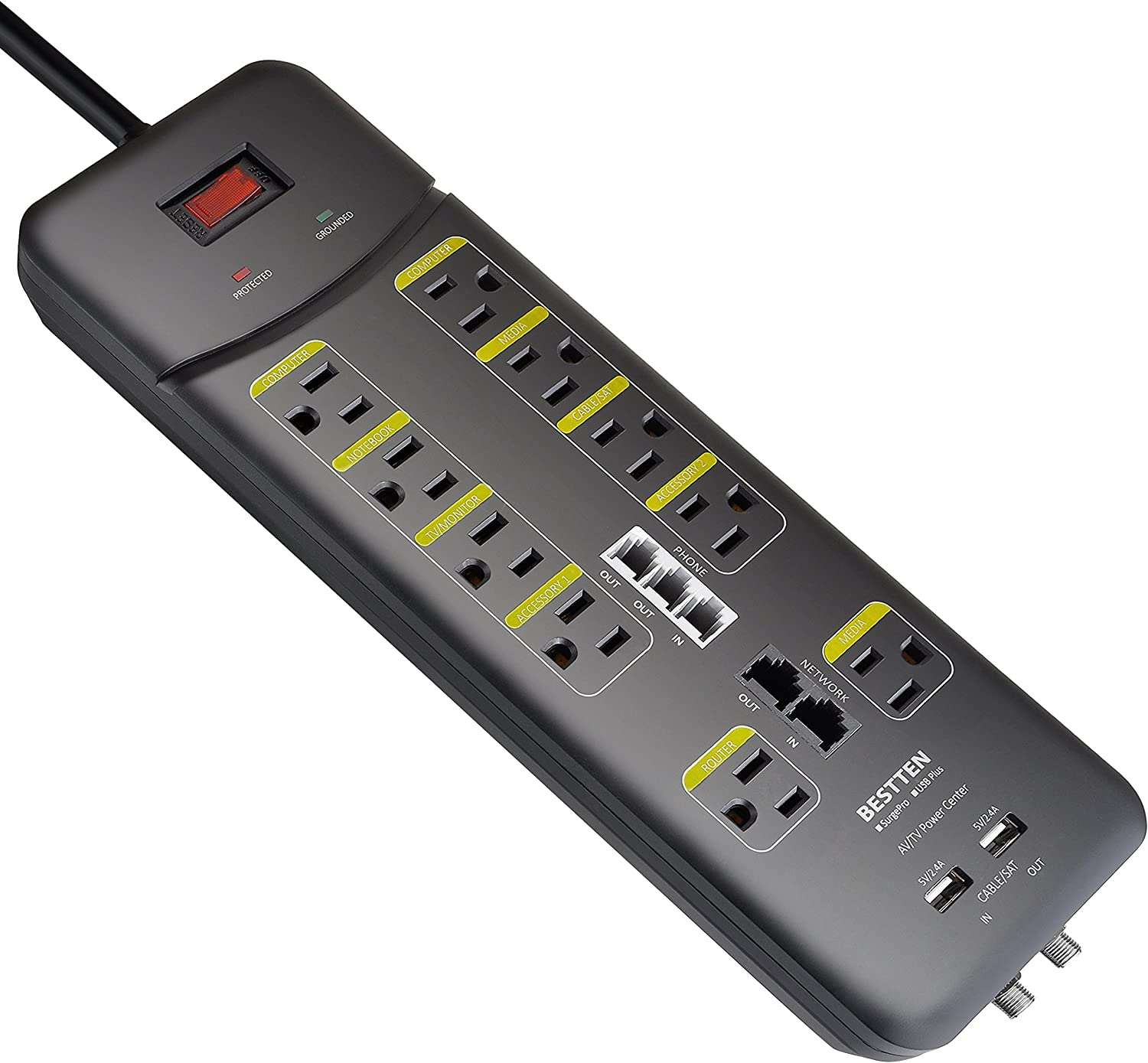 Award BESTTEN 3800-Joule Surge Protector All-in-One 10-Outlet overseas S Power