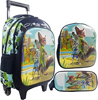 3D Zootopia School Trolley Bag with Backpack for Kids Boy Include Lunch Bag and Pencil case | 14 inch