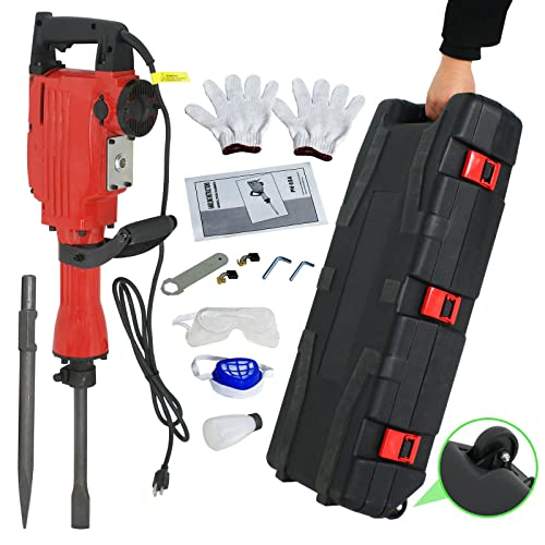 F2C 2200W Heavy Duty Electric Demolition Jack Hammer Concrete Breaker Power Tool Kit 2 Chisel 2