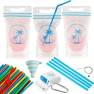 100 Premium Drink Pouches with Straw Bundle - Smoothie Bags Stand Up Juice Pouch Resealable No Leak Double Zipper - Reusable Plastic Disposable Clear Drinking Bag for Adult Kids Party Cups BPA-Free
