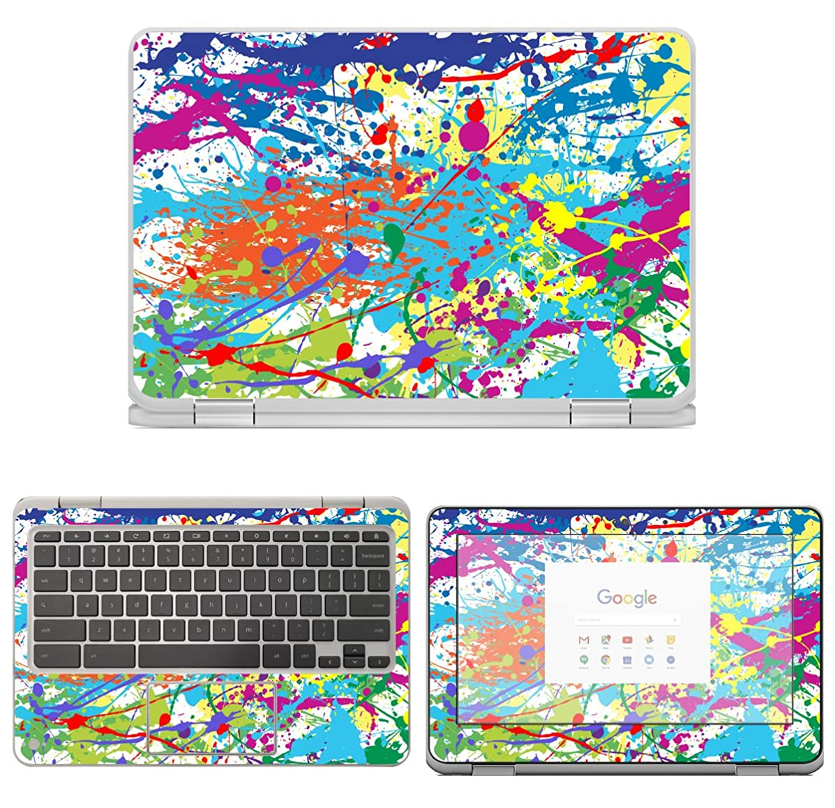 decalrus - Protective Decal Paint Splatter Skin Sticker for HP ChromeBook X360 11-AE030NR (11.6