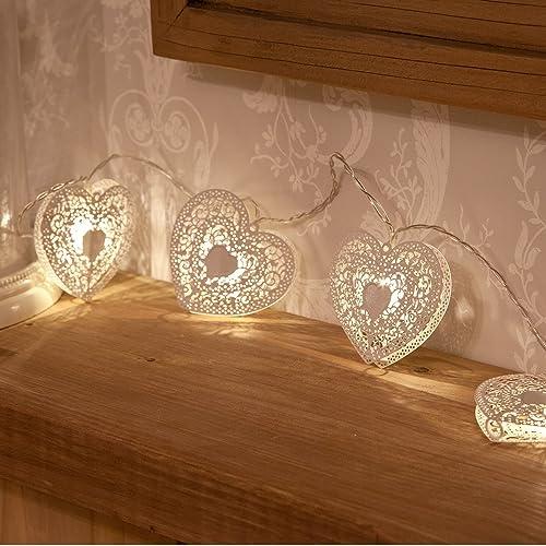Guirlande Lumineuse 10 Cœurs Métal Blanc Éclairage LED à Piles 1,50 Mètre Avec Minuteur