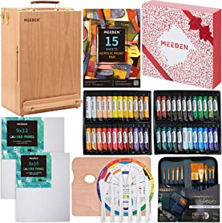 MEEDEN 70-Piece Premium Acrylic Painting Set - Solid Beech Wood Easel Box, 48×22ML Acrylic Paint Set and All Additional Su...