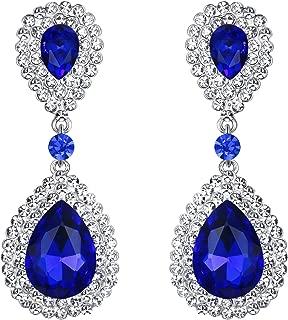 BriLove Women's Fashion Wedding Bridal Crystal Teardrop Infinity Dangle Earrings