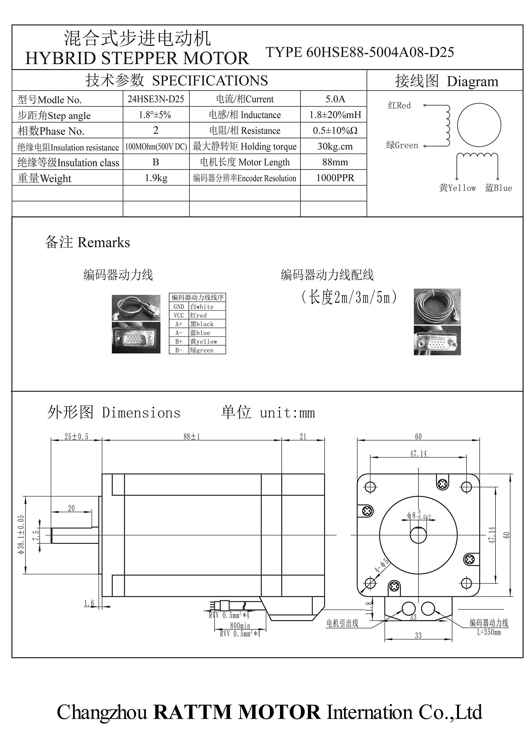 nema24 3 N.m Motor Servo Motor de ciclo cerrado 88 mm 5 A + hss60 ...