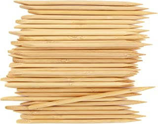 BambooMN Disposable Bamboo 15cm 5mm Nail Art Manicure Pedicure Sticks Cuticle Pushers Remover Tool, 100 Pieces