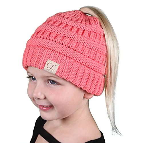 5cc3e1063fea3 Funky Junque BeanieTail Children s Ponytail Messy Bun Beanie Solid Ribbed  Hat