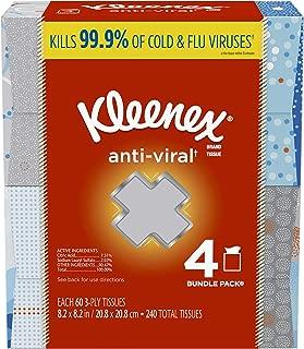 Kleenex Anti-Viral Facial Tissues, Cube Box, 60 Tissues per Box, 4 Pack (240 Tissues Total)