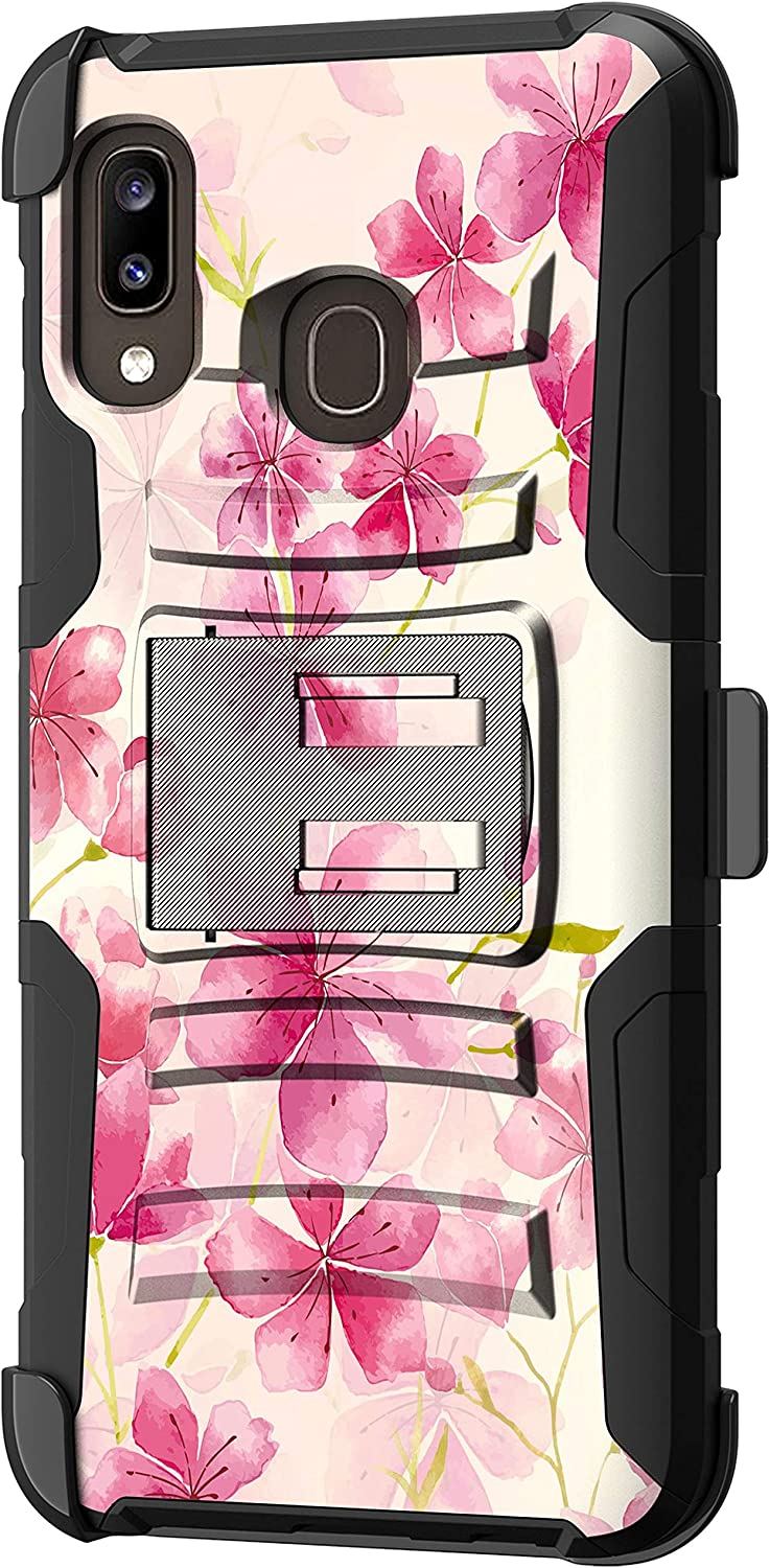 TurtleArmor   Compatible with Samsung Galaxy A20 Case   Galaxy A30 Case   Galaxy A50 Case [Hyper Shock] Fitted Armor Holster Belt Clip Hybrid Cover Stand Shock Protective Case - Flower 2