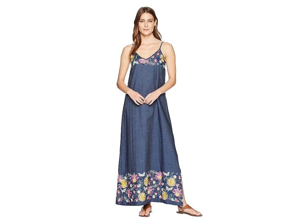Karen Kane Embroidered Maxi Dress (Denim) Women