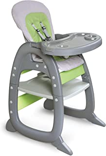 Badger Basket Envee II Baby High Chair with Playtable Conversion, Gray/Green