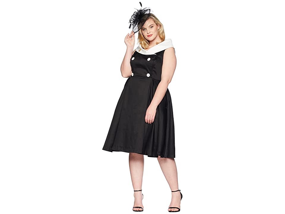Unique Vintage Plus Size Barbie x UV After Five Swing Dress (Black/White)  Women\'s Dress