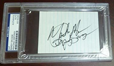 Macho Man Randy Savage Signed Cut Index Card Slab Autograph WWE WWF WCW - PSA/DNA Certified - Autographed Wrestling Cards