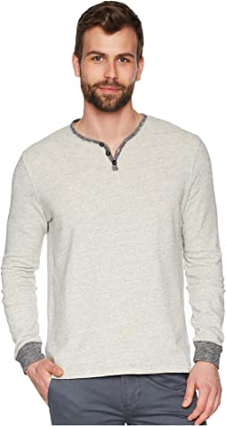 Soho Long Sleeve Soft Heather Grey Slub Terry Henely Sweatshirt