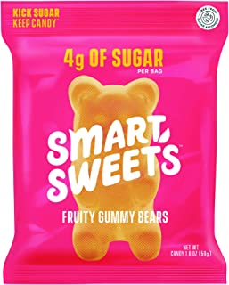 SmartSweets Fruity Gummy Bears, Candy with Low Sugar (4g), Low Calorie, Free From Sugar Alcohols, No Artifi...