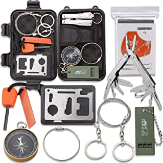 Emergency Survival Kit, Monoki 9-In-1 Compact Outdoor Survival Gear Kits Portable EDC Emergency Survival Tools Set with Gi...