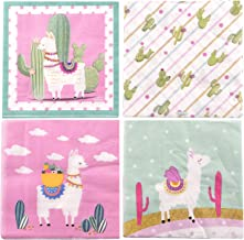80PCS Cocktail Napkins-Lovely Llamas Disposable Paper Party Napkins,Perfect for Baby Shower,Birthday Party or Holiday Events Luncheon Napkins Decorations Party Favor,6.5x6.5 Inches Folded (20/Pkg) (Value 4-Pack)
