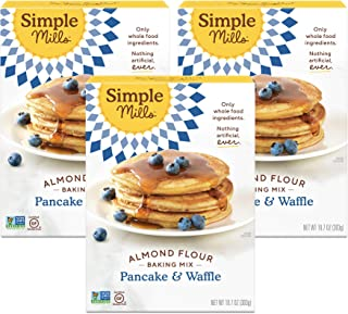 Simple Mills Almond Flour Pancake Mix & Waffle Mix, Gluten Free, Made with whole foods, 3 Count (Packaging May Vary)
