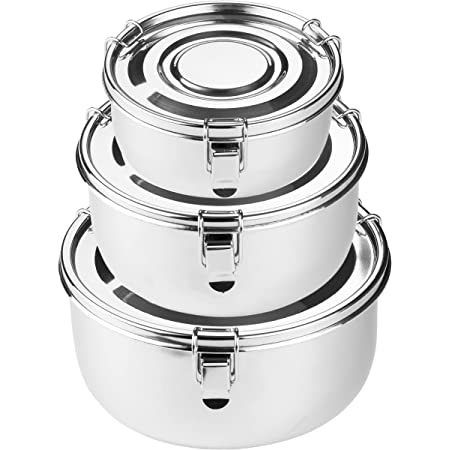 allprettyall Premium Stainless Steel Food Storage Containers,304 Grade The Original Leak Proof, Airtight, Smell Proof Perfect for Camping Trips, Lunches, Leftovers, Soups, Salads More Set of 3