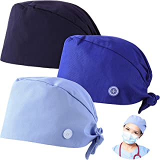 Syhood 3 Pieces Working Caps with Buttons and Sweatband Adjustable Gourd-Shaped Tie Back Hats for Women Men