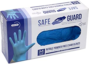 SAFEGUARD Nitrile Exam Gloves, Powder Free, Medical Grade Gloves, Latex Free, 100 Pc. Dispenser Pack, Large Size in Blue