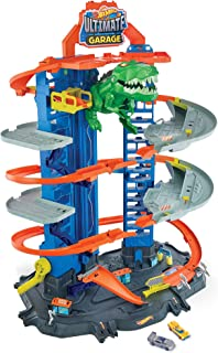 Hot Wheels City Ultimate Garage Track Set with 2 Toy Cars, Garage Playset Features Multi-Level Racetrack, Moving T-Rex Dino & Storage for 100+ 1:64 Scale Vehicles, Toy Gift for Kids 3 Years & Older