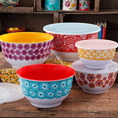 The Pioneer Woman 10-Piece Traveling Nesting Mixing Serving Bowl Set features Vibrant Colors PACK OF 1