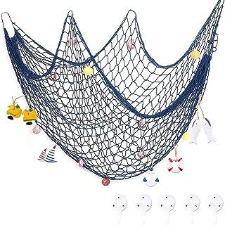 Filet de Pêche Décoratif, Filet de pêche avec 5 Crochets et 14 Coquilles, Voilier, Bouée de sauvetage, Poissons , Fish-Net...