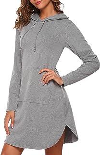 c045f619060749 HOTOUCH Damen Hoodie Langarm Sweatkleid Sweatshirt Kapuzenpullover mit  Kapuze & Taschen