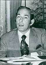 Vintage photo of Portrait of Seychelles politician President (France) Albert Rene, 1977.