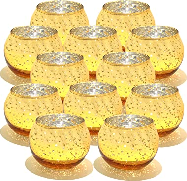 YOBZUO Round Gold Votive Candle Holders Bulk, Mercury Glass Tealight Candle Holder for Wedding Decor and Home Decor Set of 12