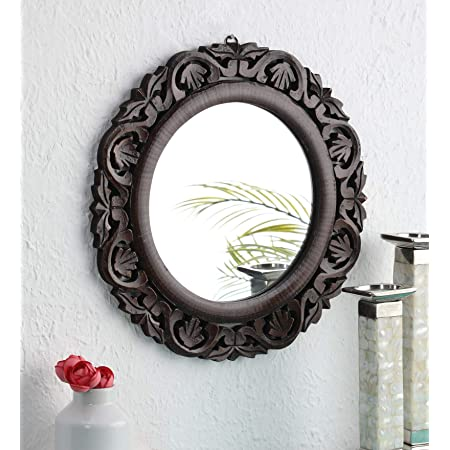 "The Urban Store Hand Crafted Wooden Round Shape Vanity Wall Mirror for Living Room, 16"" X 16"" Inches (Brown)"