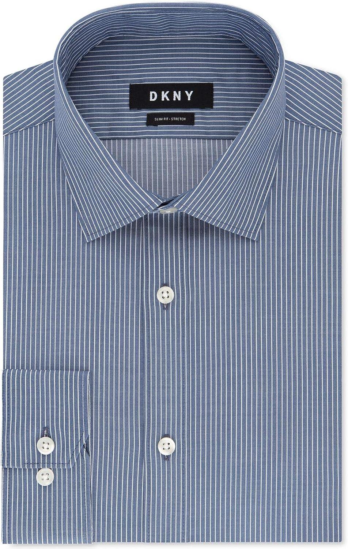 DKNY Mens Slim-Fit Stretch Button Up Dress Shirt, Blue, 18