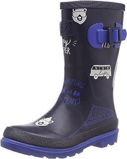 Joules Kids Boy`s Printed Welly Rain Boot (Toddler/Little Kid/Big Kid) Navy Happy Camper 2 Little Kid