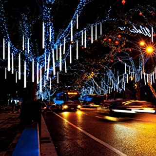 Prezzl Meteor Shower Lights, Falling Rain Lights/Icicle Snow String Lights with 30cm 8 Tubes 224 Waterproof LEDs for Wedding Party Holiday and Christmas Decorations(White)