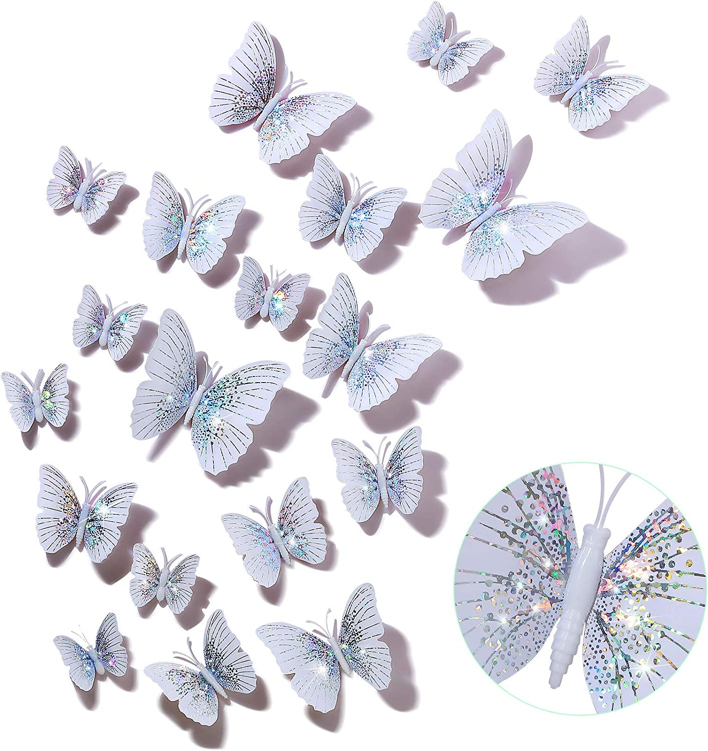48 Pieces Glitter 3D Butterfly Wall Stickers Removable Butterfly Wall Decals Butterfly Decorative Stickers Bling Lively Butterfly Wall Mural for DIY Party Office Home Room Decoration, White