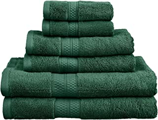Superior Rayon from Bamboo and Cotton Bathroom Towels, Velvety Soft and Super Absorbent, Hotel & Spa Quality 6 Piece Towel Set with 2 Bath Towels, 2 Hand Towels, and 2 Washcloths - Hunter Green