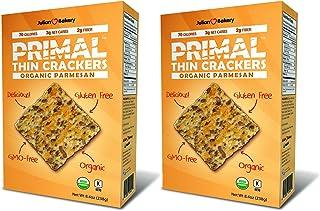 Julian Bakery Primal Thin Crackers   Parmesan   USDA Organic   Gluten-Free   Grain-Free   GMO Free   Low Carb   2 Pack