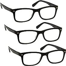 L'azienda Occhiali Da Lettura Nero Lettori Valore 3 Pacco Uomo Donna Cerniere Molla RRR23-1 +3,00