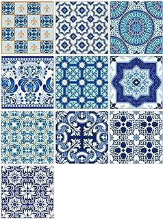 AIEOE Wall Tile Decals Kitchen Decorative Tile Stickers Adhesive Bathroom Tile Decals Vintage Talavera Tile Sticker Removable PVC Tile Decals for Staircase Decor 10PCS