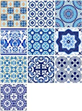 AIEOE Wall Tile Decals Kitchen Decorative Tile Stickers Adhesive Bathroom Tile Decals Vintage Talavera Tile Sticker Removable PVC Tile Decals for Staircase Decor 10PCS