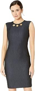 Calvin Klein Women's Denim Sheath Dress w/Grommet Detail