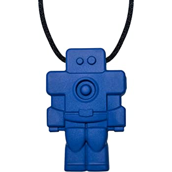 Robot Sensory Chewelry - Munchables Chew Necklace (Chewable Jewelry for Kids) (Navy)